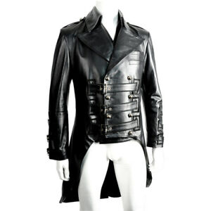 Mens Black Tailcoat & Waistcoat Lambs Leather Victorian Steampunk Gothic Pirate