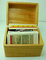 "Vintage Wood Recipe Box With Handwritten And printed Recipes Holds 6"" x 4"" Cards"