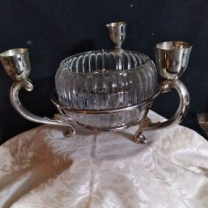 Vtg. Beautiful Silver Plate EPERGNE Centerpiece 3 Arms with crystal flower bowl