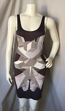 Jonathan Saunders Viscose Mauve/Gray Geometric Print Bodycon Tank Mini Dress S