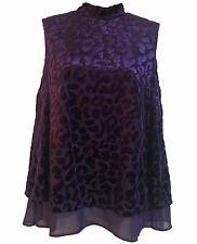 Fabulous Party Evening Halterneck Blouse Velour Top Ink Purple Chic UK 10