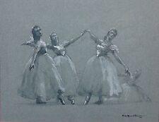 August Von Munchhausen Original Ink and Watercolor 1944 Ballet Dancers