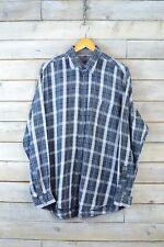 Vintage gris y blanco de cuadros camisa de franela (XL)