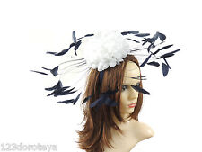White Navy Fascinator Hat For Weddings/Ascot/Proms With Headband M3