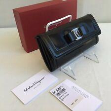 Salvatore Ferragamo Gancini Vara Bow Continental Wallet Black Patent Auth $650