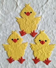 25 Chicks chick Diecut Handmade Mulberry Paper baby chickens Easter eggs