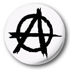 ANARCHY SYMBOL - 1 inch / 25mm Button Badge - Protest Riot Chaos White