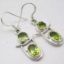 """2 Gem Lovely Dangling Earrings 1.5"""" 925 Sterling Silver Genuine Green Peridot"""
