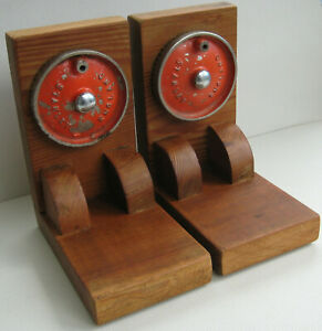 A Pair of Vintage Retro Wooden Bookends with Upcycled Stanley Hand Drill Cogs
