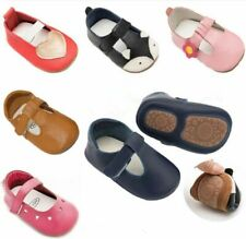 Baby Girl T-Strap Style Shoes Infant Toddler Genuine Leather Hard Sole Moccasins
