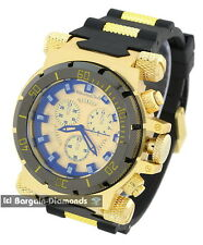 mens big heavy gold tone clubbing watch gold black dial black bullets strap