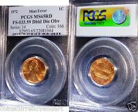 MINT ERROR .1972 Doubled Die Obverse. PCGS MS-64 RED - COVETED Double Die