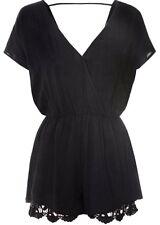 New Ladies Womens Glamorous Playsuit  V Neck Lace Detail Hem Black Size S
