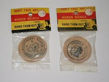 Dime Store Toy Wooden Buffalo Nickel 1960s Taiwan NOS New MIP Don't Take