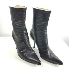 Aldo Women's Black Leather Heeled Boots, Pointed Toe, 7.5 (38)