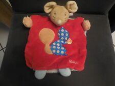 394/ doudou marionnette souris Colors rouge bleu brodé écureuil  KALOO
