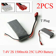 2PCS 7.4V 1500mAh 25C Batería Lipo T enchufe para Wltoys 144001 A959-B A969-B A979-B