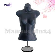 Female Torso Mannequin Dress Form Display Black w/ Metal Stand + Hanging Hook