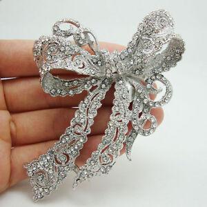 Elegant Bridal Wedding Butterfly Bowknot Clear Rhinestone Crystal Brooch Pin