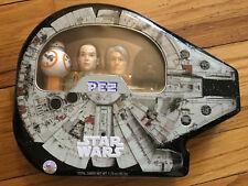 Pez Star Wars Millenium Falcon Metal Dose The Force Awakens BB8 Rey Chewbacca Ha