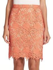 Alice & Olivia Coral Nude Lace Farrel Pencil Skirt $298 NWT 0