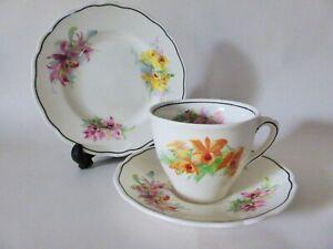 Royal Doulton Orchids Tea Cup Trio Set, Art Deco, 1930s, Patt D 5400, Teacup Set
