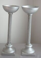 """""""Art Deco"""" Silver Metal """"Twisted Rope"""" Candle Holders - JaNice Interiors Accents"""