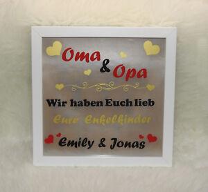 """Beleuchteter Bilderrahmen """"Oma & Opa wir haben euch lieb"""" - Geschenk - Enkelkind"""