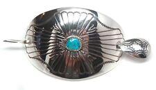 Hair Barrette -Joann Silver Navajo Handmade Turquoise Sterling Silver