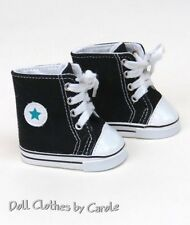 "Black High Tops Converse ""Chucks"" Canvas Sneakers fit American Girl Doll - Shoes"