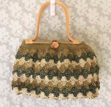 VINTAGE 1950s Lge Purse Handbag Raffia Crochet Knit Bamboo Handles