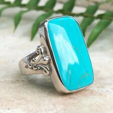 Sterling Silver & Genuine Cabochon Rectangle Turquoise Ring NEW Size 9