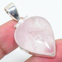 "Rose Quartz Gemstone Handmade 925 Silver Jewelry Pendant 1.97"" AL-1141"