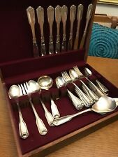 54 Pc Lot Vtg Nautical SILVER SHELL Oneida Community Cube Silverplate Flatware