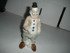 "7 ""  Porcelain Clown With Mask At His feet Front And Back"
