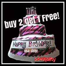 """3 FEET TALL 36"""" X 26"""" Giant Happy Birthday Cake Party Balloon Zebra Stripe Decor"""