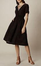 Karen Millen Black Tie Lace Broderie A Line Cotton Boho Races Dress - Size UK8