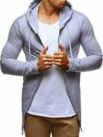LEIF NELSON Men's Modern Zipped Hoodie Pullover Hood Long sleeve Sweater S, Gray