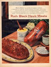 1956 vintage food AD RATH Black Hawk Meats Boneless Pork Shoulder  012116