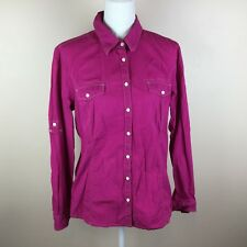 Tommy Hilfiger Womens Pink XL Button Front Top
