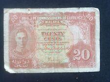 Malaya British 1941 George Vl 20 Cents Scarce BANK NOTE by Thomas De La Rue & Co