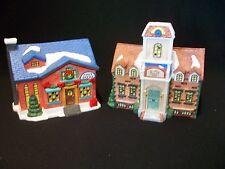 Grandeur Noel Christmas Village Post Office Elementary School Set Porcelain