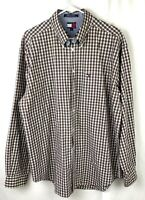 Mens Tommy Hilfiger Button Down Shirt Size Large Black and White Checkered