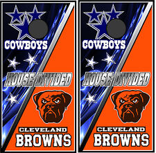 Cowboys & Browns divided 0172 Custom Cornhole board game decal wraps  skins