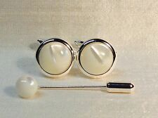 Mother of Pearl 16mm round Cufflinks with Cravat/Tie Pin in a Silver finish.