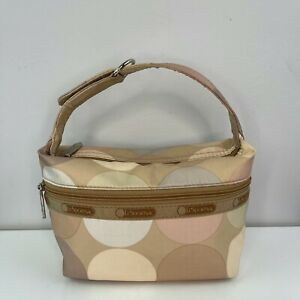 LeSportsac Beige Nude Tone Circle Round Top Handle Snap Clutch Bag Pouch RARE