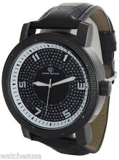 Super Techno M-6010 Men's Diamond Black Dial Leather Band Watch