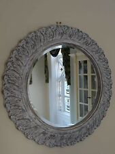 Round/Circular Shabby White Carved/Moulded Style Wall-Mounted Bevelled Mirror