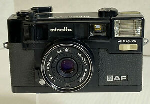 Vintage Minolta Hi-Matic AF Auto Focus Film Camera 38mm Lens & Leather Case 1979