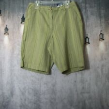 Basic Editions Green Khaki Striped Bermuda Shorts Size 12